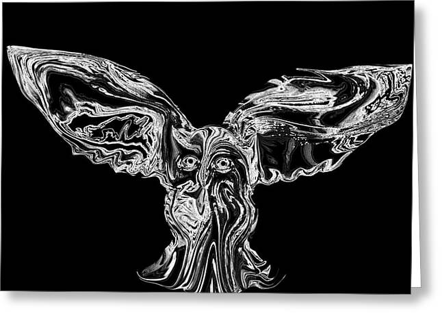 Sacred Owl In Flight Greeting Card by Abstract Angel Artist Stephen K