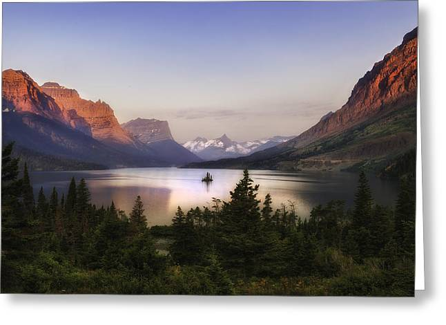 Soft Light Greeting Cards - Sacred Sunrise of St Mary Lake-Glacier National Park Greeting Card by Thomas Schoeller