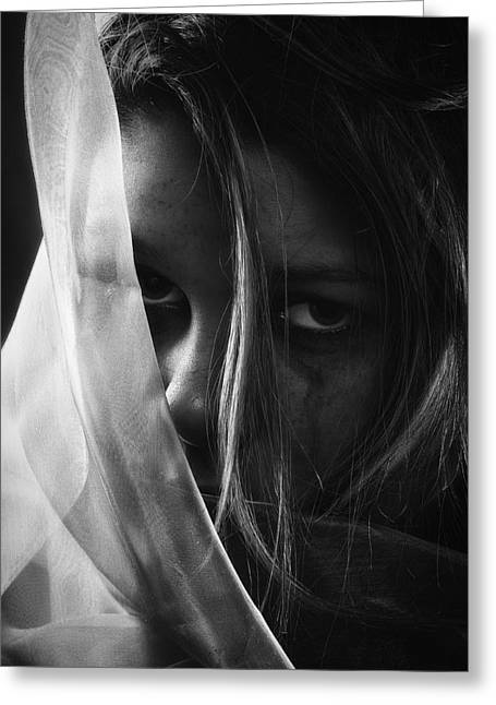 Problem Greeting Cards - Sad Girl - BW Edition Greeting Card by Erik Brede