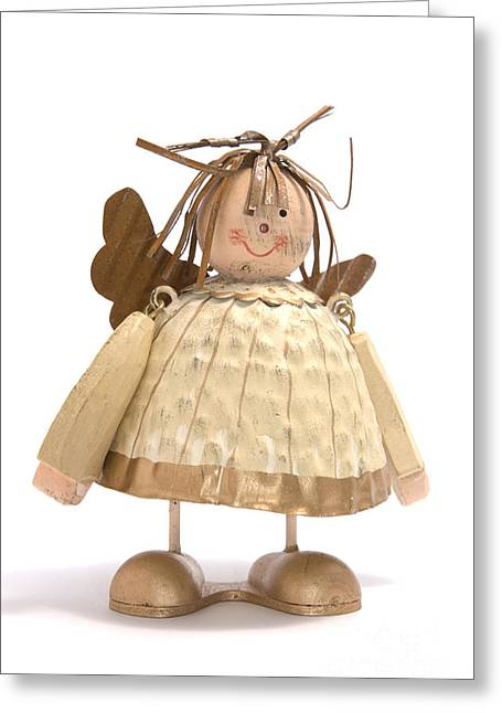 Wooden Greeting Cards - Sad Little Angel Greeting Card by Andy Smy