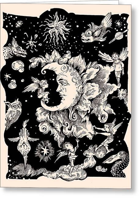 Man In The Moon Greeting Cards - Sad Moon Greeting Card by Theresa Taylor Bayer