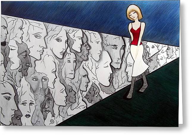 Unrealistic Greeting Cards - Sad Stroll for Down Doll Greeting Card by Danielle R T Haney