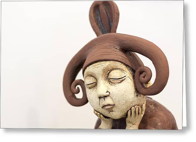 Original Art Photographs Greeting Cards - Sad thinking brown elf creature Greeting Card by John Williams