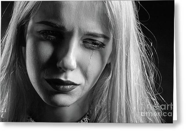 Sad Woman Crying Greeting Card by Aleksey Tugolukov