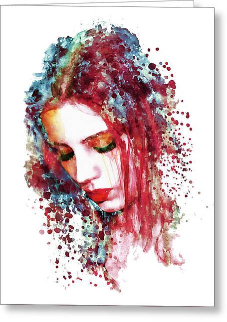 Sad Woman Greeting Card by Marian Voicu