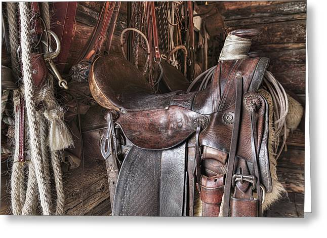 Log Cabin Interiors Greeting Cards - Saddle And Horseback Riding Equipment Greeting Card by Ken Gillespie