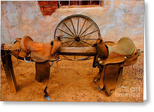 Tap On Photo Greeting Cards - Saddle Town Greeting Card by Tap  On Photo