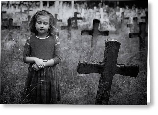 Graveyard Greeting Cards - Sadness Greeting Card by Mirjam Delrue