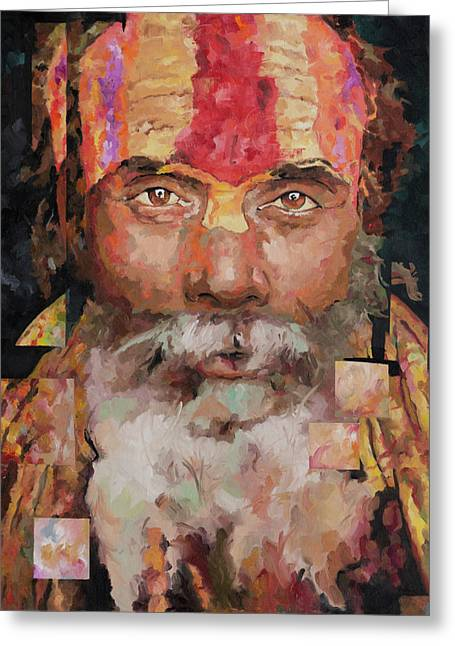 Mystic Paintings Greeting Cards - Sadu  Greeting Card by Richard Day