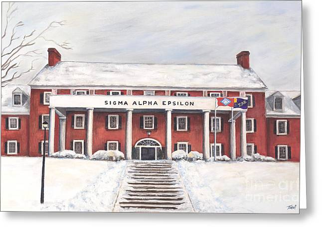 Arkansas Paintings Greeting Cards - SAE Fraternity House at UofA Greeting Card by Tansill Stough