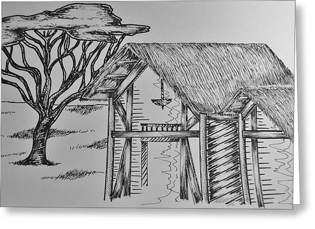 White Frame House Drawings Greeting Cards - Safari Concept Greeting Card by Giuseppe Puglisi