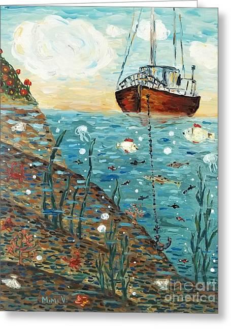 Decorative Fish Greeting Cards - Safe Harbor Greeting Card by Maria Langgle
