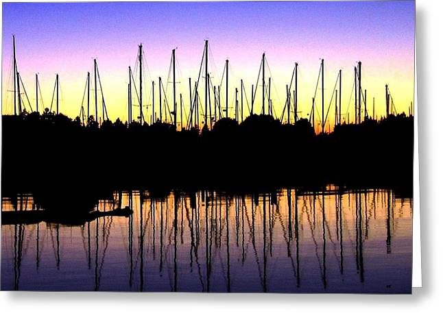 Docked Sailboats Greeting Cards - Safe Haven Greeting Card by Will Borden