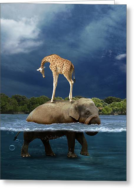 Surrealist Greeting Cards - Safe Greeting Card by Martine Roch