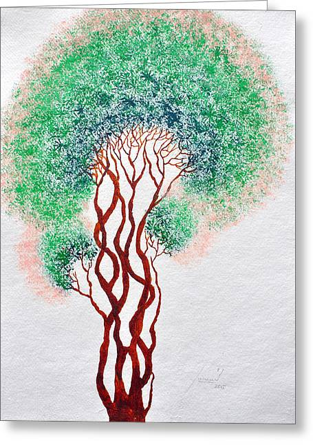 Tree Roots Paintings Greeting Cards - Safpar Vriksh Greeting Card by Sumit Mehndiratta