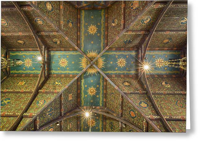 Sage Chapel Ceiling #1 - Cornell University Greeting Card by Stephen Stookey