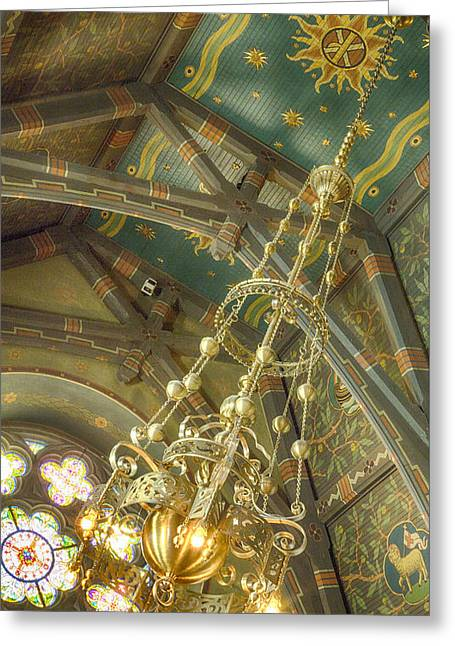 Sage Chapel Ceiling And Light Greeting Card by Stephen Stookey