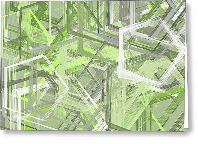 Green Abstract Greeting Cards - Sage Green Art Greeting Card by Lourry Legarde