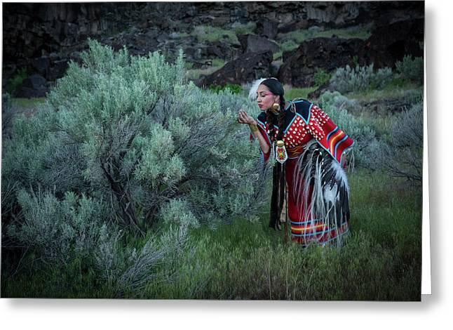 Sage Woman Greeting Card by Christian Heeb