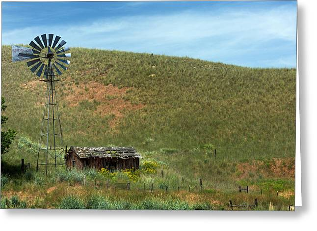 Aermotor Greeting Cards - Sagebrush Cabin Greeting Card by Mary Jo Allen