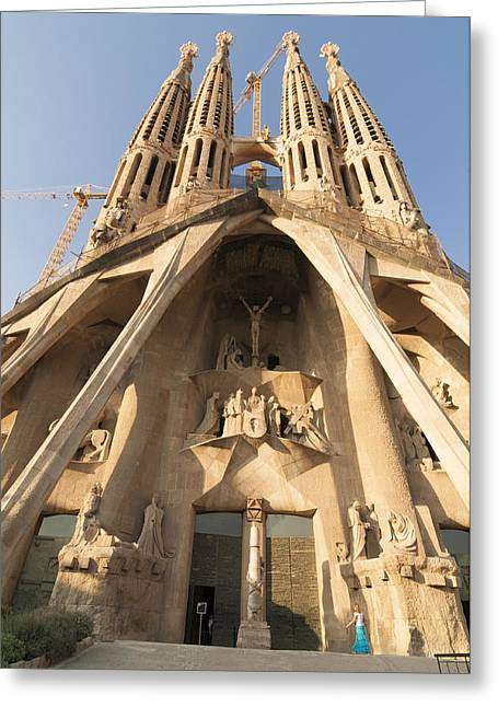 Catalunya Photographs Greeting Cards - Sagrada Familia church in Barcelona Antoni Gaudi Greeting Card by Matthias Hauser