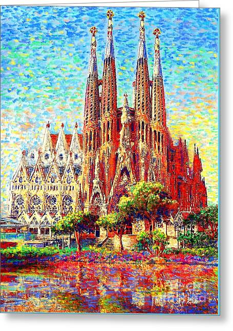 Buildings Paintings Greeting Cards - Sagrada Familia Greeting Card by Jane Small