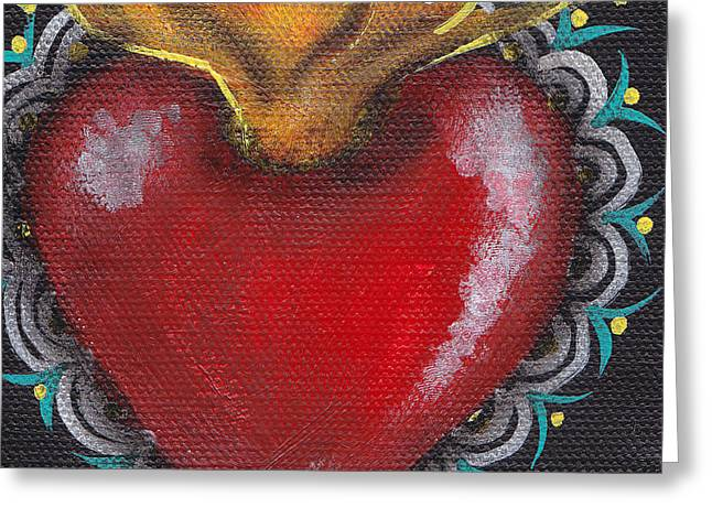 Tattoo Flash Paintings Greeting Cards - Sagrado Corazon 1 Greeting Card by  Abril Andrade Griffith
