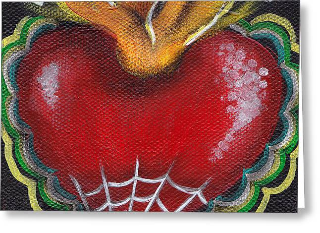 Tattoo Flash Paintings Greeting Cards - Sagrado Corazon 2 Greeting Card by  Abril Andrade Griffith