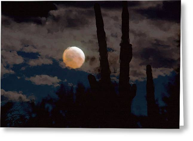 Passover Moon Greeting Cards - Saguaro Blood Moon III Greeting Card by Carolina Liechtenstein
