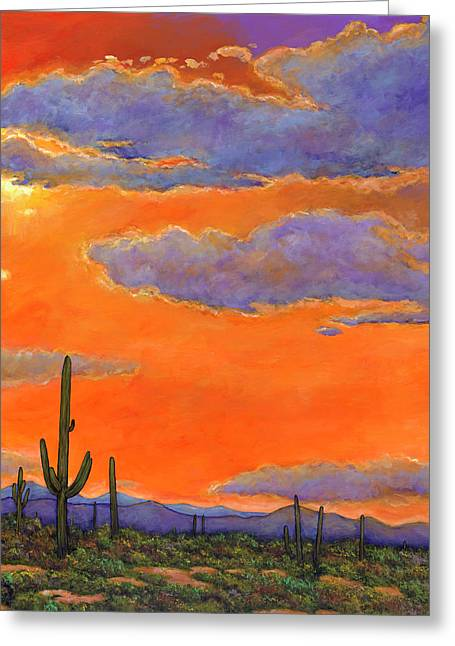 Realistic Paintings Greeting Cards - Saguaro Sunset Greeting Card by Johnathan Harris