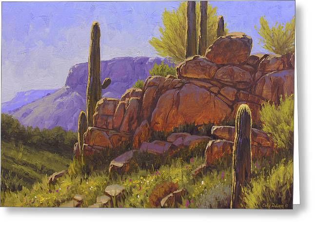 Cactus Greeting Cards - Saguaro Sunshine Greeting Card by Cody DeLong