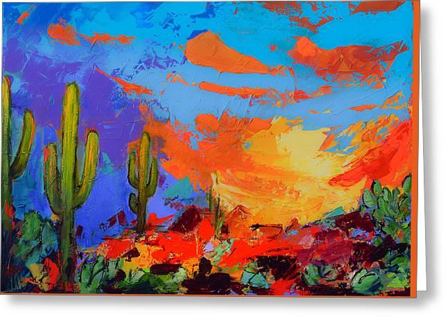 Saguaros Land Sunset Greeting Card by Elise Palmigiani
