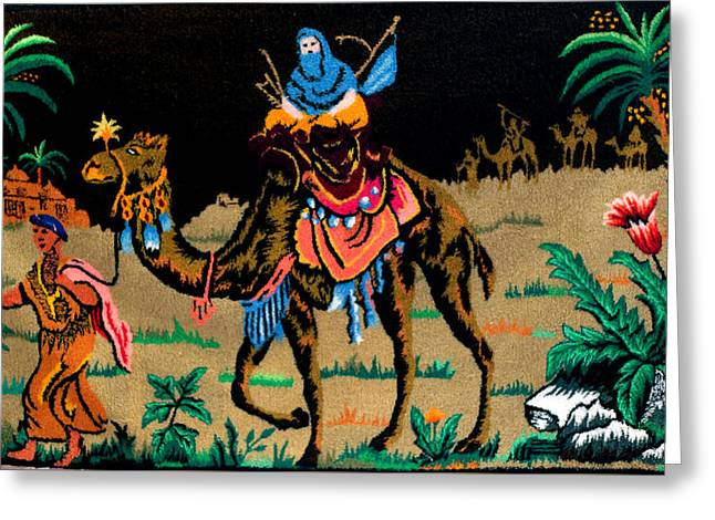 People Tapestries - Textiles Greeting Cards - Sahara Greeting Card by Mimoza Xhaferi