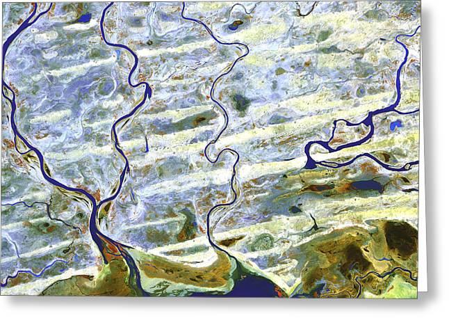 21st Greeting Cards - Saharan Desert Rivers, Satellite Image Greeting Card by Nasa