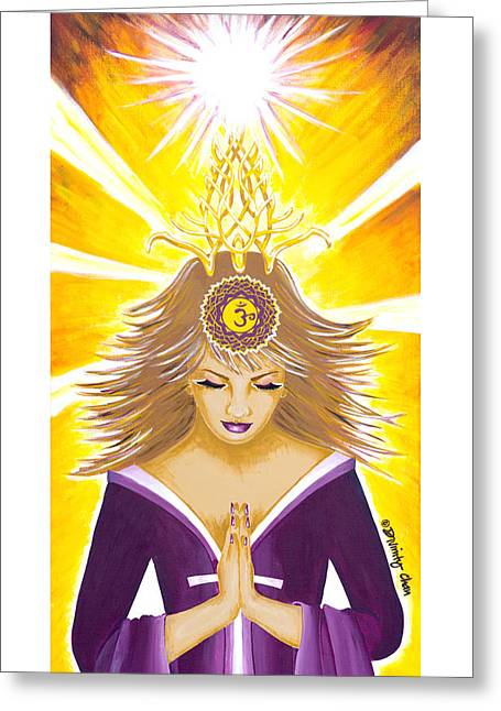 Sahasrara Greeting Cards - Sahasrara Crown Chakra Goddess Greeting Card by Divinity MonSun Chan