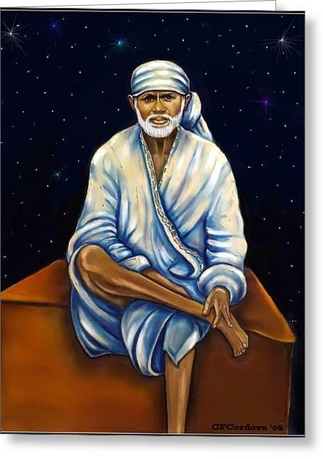 Sai Baba Greeting Card by Carmen Cordova