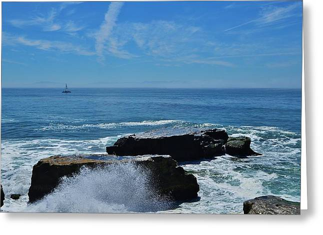 Santa Cruz Sailboat Greeting Cards - Sail and Surf Spray  Greeting Card by Marilyn MacCrakin