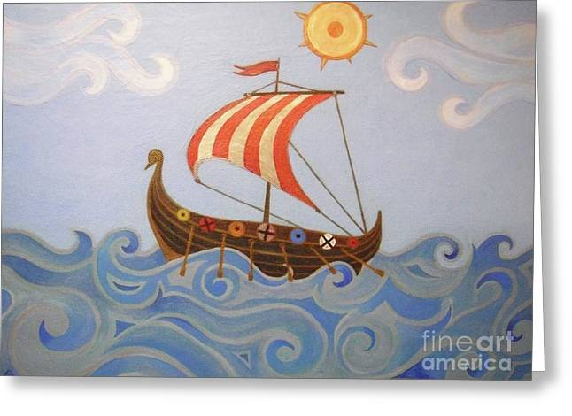 Vikings Paintings Greeting Cards - Sail Away - Vikings Boat Greeting Card by Melina Mel P