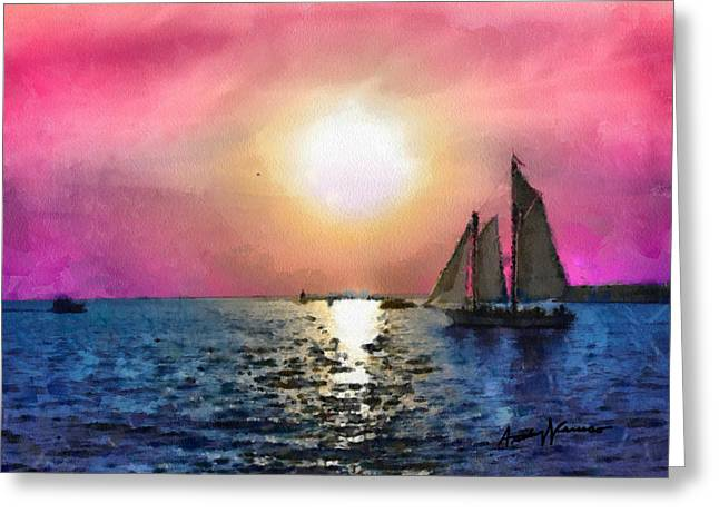 Sailboat Ocean Mixed Media Greeting Cards - Sail Away Greeting Card by Anthony Caruso