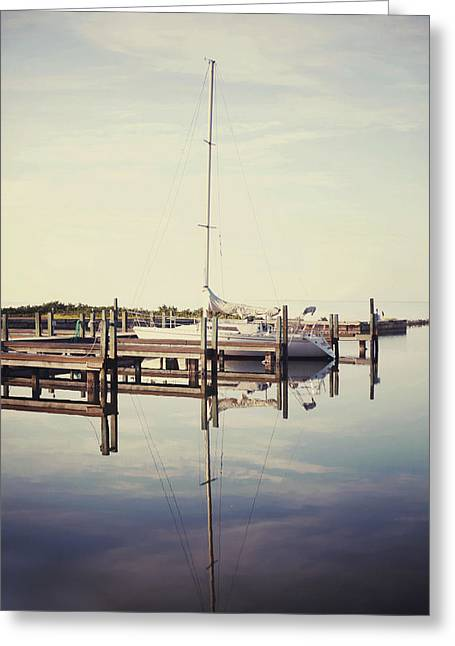 Blue Sailboats Greeting Cards - Sail Away Greeting Card by Laurie Madden