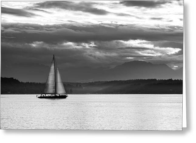 A Summer Evening Landscape Greeting Cards - Sail Away Greeting Card by TL  Mair