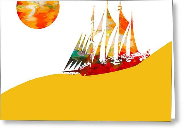 Beach Greeting Cards - Sail Boat Abstract Greeting Card by Sheela Ajith