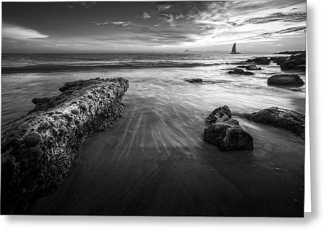 Sail Into The Sunset - Bw Greeting Card by Marvin Spates
