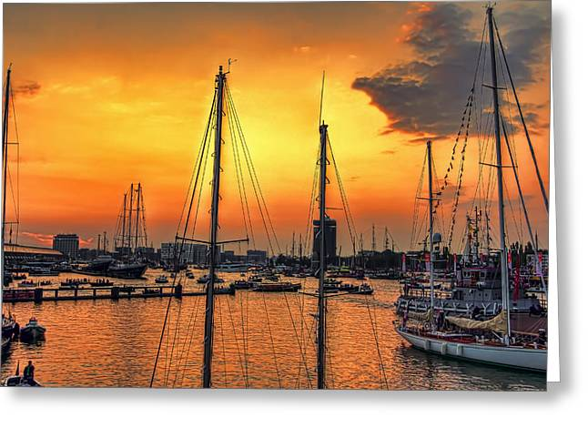 Tall Ships On Water Greeting Cards - Sail Into The Sunset Greeting Card by Nadia Sanowar