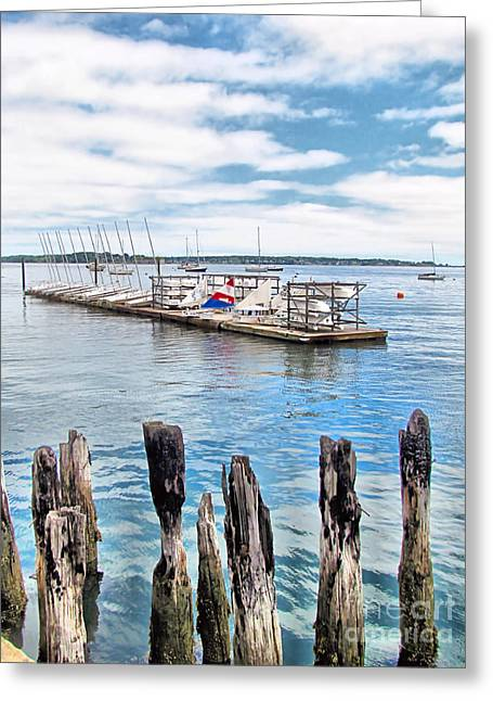 Masts Greeting Cards - Sail Maine Mooring Greeting Card by Elizabeth Dow