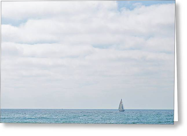 Sail On Blue Greeting Card by Peter Tellone