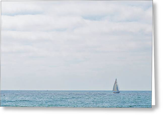 Sail On Blue - Widescreen Greeting Card by Peter Tellone