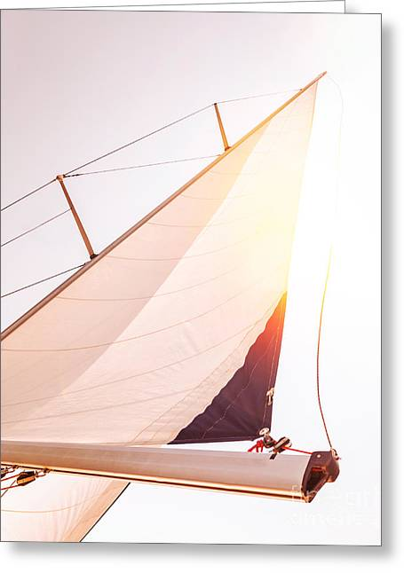 Yellow Sailboats Greeting Cards - Sail over sunset sky  Greeting Card by Anna Omelchenko