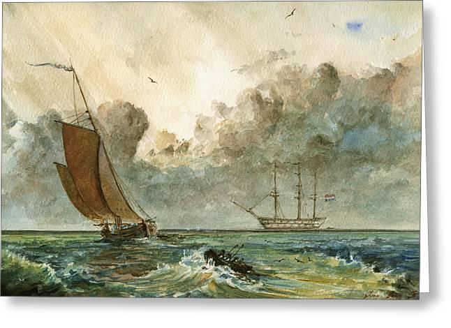 Sail Ships Greeting Card by Juan  Bosco