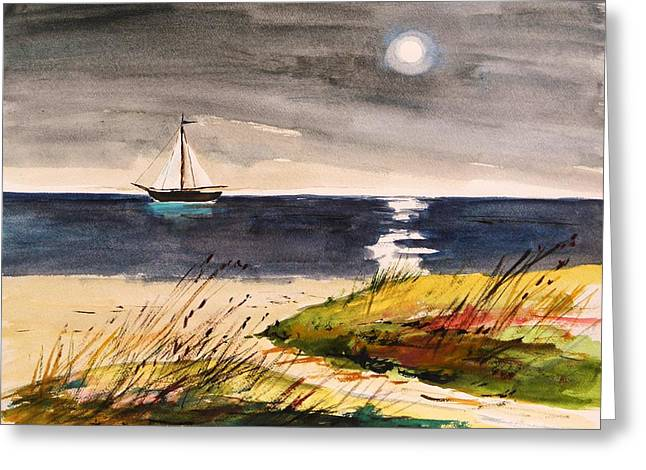 Moon Beach Drawings Greeting Cards - Sail with a Hazy Moon Greeting Card by John  Williams